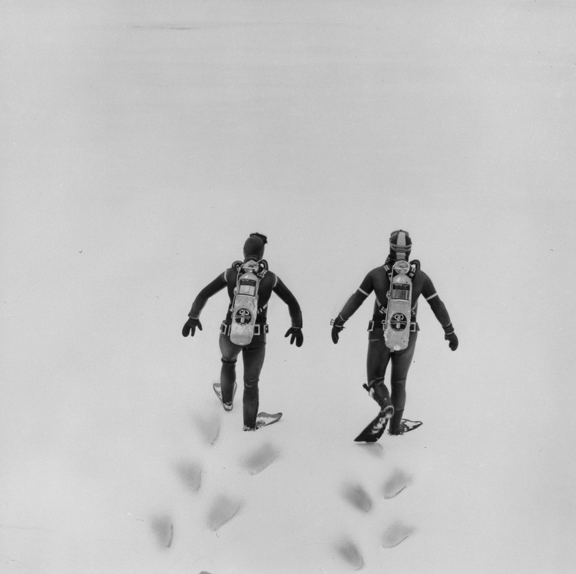 Deux plongeurs vus de dos marchent dans la neige.
